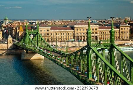 The famous Liberty Bridge in Budapest  - stock photo