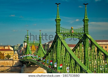 The famous Liberty Bridge in Budapest, Hungary - stock photo