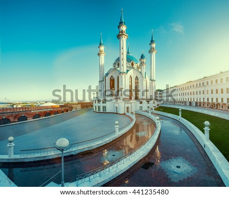 The famous mosque in Russia - Qol Sharif in Kazan town. - stock photo
