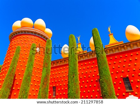 the famous museum - theater of Salvador Dali in figueras town in Spain - stock photo