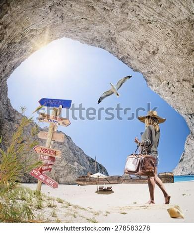 The famous Navagio Shipwreck beach in Zakynthos island Greece - stock photo