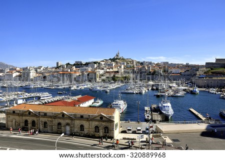 The famous old port of Marseille dominated by Notre Dame de la garde called here the Good Mother