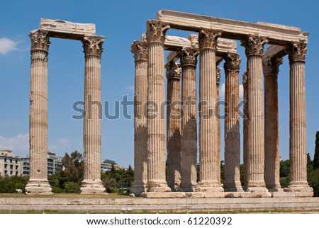 The famous Olympieion (the Temple of Olympian Zeus ) in the greek capital Athens - stock photo
