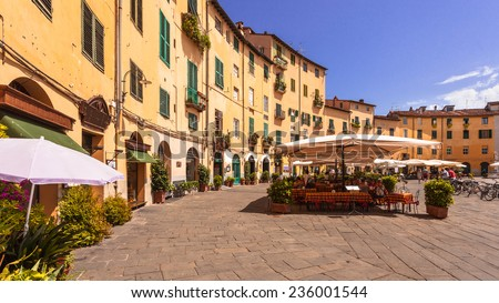 The Famous Oval City Square on a Sunny Day in Lucca, Tuscany, Italy - stock photo