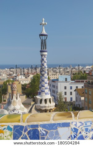 The famous Park Guell in Barcelona (Catalunya, Spain). Vertically.
