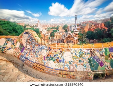 The famous park Guell in Barcelona, Spain - stock photo