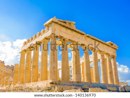 the famous Parthenon temple in Acropolis in Athens Greece - stock photo