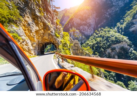 The famous Piva Canyon with its fantastic reservoir. National park Montenegro and Bosnia and Herzegovina, Balkans, Europe. Beauty world. - stock photo