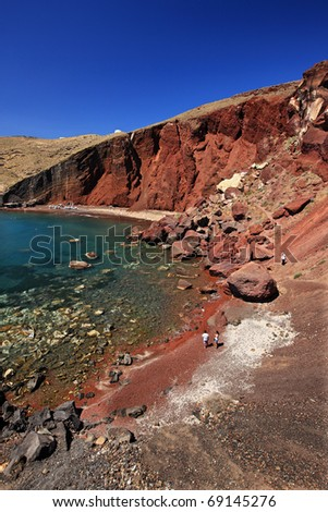 "The famous ""Red"" beach, in Santorini island, Greece. - stock photo"