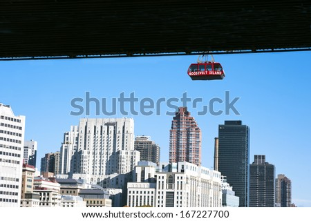 The famous Roosevelt Island cable tram car that connects Roosevelt Island to Manhattan in New York - stock photo