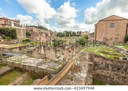 The famous ruins of the Roman Forum, Foro Romano, located between Palatino and Campidoglio, the most visited historic site in Rome with the Colosseo. Rome, Lazio, Italy. - stock photo