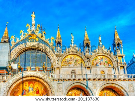 The famous St Mark's Basilica church at Venice Italy. HDR processed - stock photo