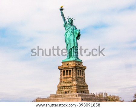 The famous Statue of Liberty monument symbol of New York City, United States. - stock photo