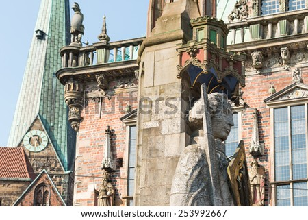 The famous statue of Roland in front of the Bremen city hall, Germany