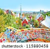 The Famous Summer Park Guell over bright blue sky in Barcelona, Spain - stock photo