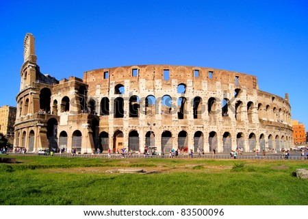 The famous symbol of Rome, the Colosseum - stock photo