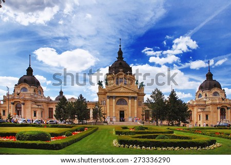 The famous Szechenyi (Szechenyi) thermal Baths, spa and swimming pool inin the Varosliget (main city park of Budapest)Hungary - stock photo