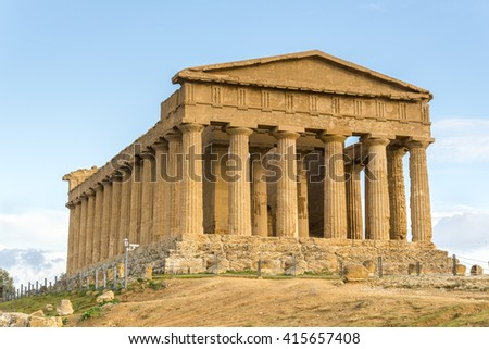 The famous Temple of Concordia. Valley of the Temples. Agrigento, Sicily, Italy. UNESCO World Heritage Site - stock photo