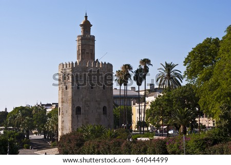 The famous Torre del Oro in Seville, Spain. Converted from RAW