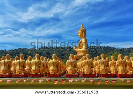 The famous tourist attraction of Thailand.Have Many beautiful Buddha a sanctuary. - stock photo