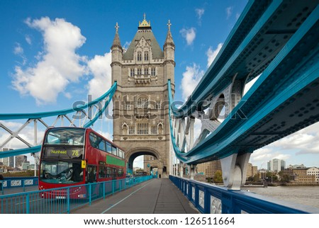 The famous Tower Bridge in London, UK. Sunny day. Photograph taken with the tilt-shift lens, vertical lines of architecture preserved - stock photo