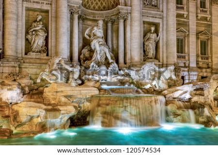 The famous Trevi Fountain at night, Rome, Italy - stock photo