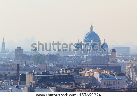 The famous trinity cathedral in St. Petersburg on a foggy morning - stock photo