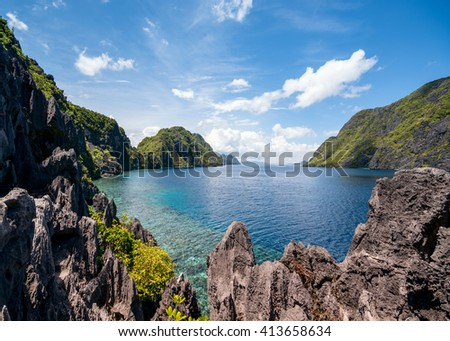 The famous view of the Tapiutan Strait in El Nido, Palawan - Philippines. - stock photo