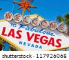 """The famous """"welcome to fabulous Las Vegas Nevada"""" sign - stock photo"""
