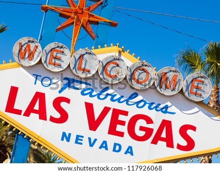 "The famous ""welcome to fabulous Las Vegas Nevada"" sign - stock photo"