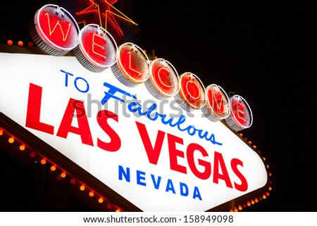 The famous Welcome to Fabulous Las Vegas sign at night - stock photo