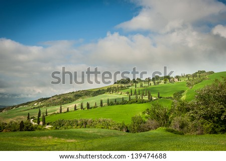 The famous winding road with cypresses from la Foce to Castelluccio, near Siena. Landscape in Val d'Orcia. Tuscany, Italy. - stock photo