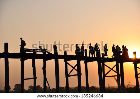 the famous wooden bridge in Mandalay - stock photo
