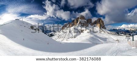 The FantasticDolomite Alps - sunny view of valley from ski lift of Col Rodela, Trentino-Alto-Adige region, Italy. - stock photo