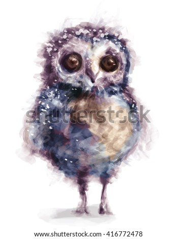 The fantasy cute funny owl with big eyes on the white background