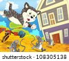 The farm - happy illustration for children - chase scene - cat chasing mice - many different elements - stock photo