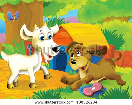 The farm illustration for children - many different elements - the farm friends talking - stock photo