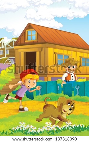 The farm illustration for kids - many different elements