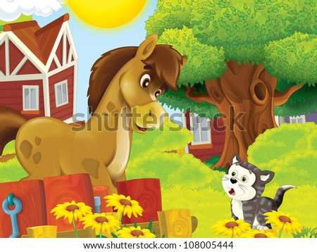 The farm illustration for kids - many different elements - meeting of two friends - horse and cat chatting - stock photo