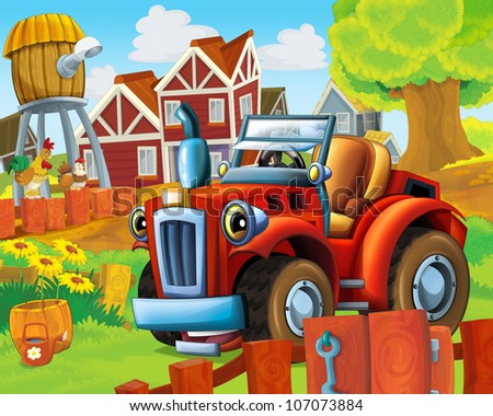 The farm illustration with tractor - for children -educational - visual - stock photo