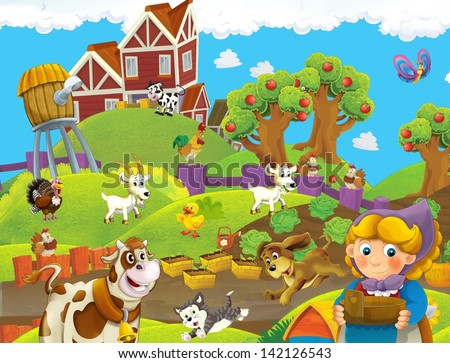 The farm life - illustration for the children