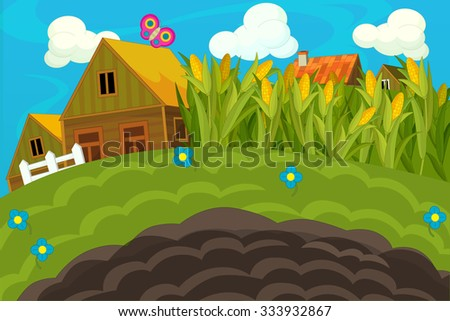 The farm scene for kids - cartoon background - illustration for the children