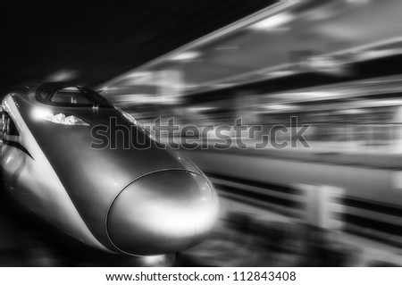 The fastest train in the world at hongqiao railway station shanghai - stock photo