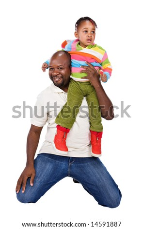 The father and his cute little African girl with a colorful sweater