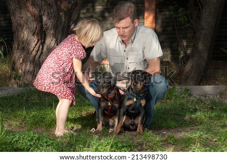 The father shows to the daughter as it is necessary to communicate with two sitting little dogs - stock photo