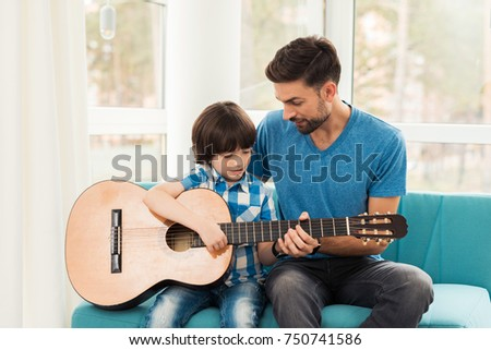 Father Teaches His Son Play Guitar Stock Photo (Royalty Free ...