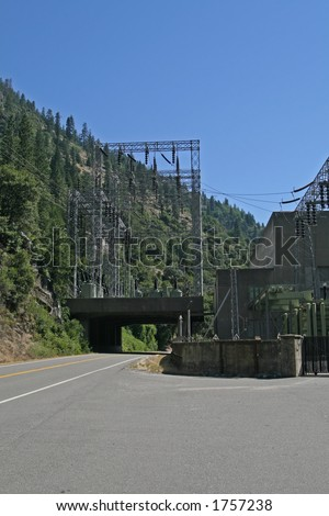 The Feather River Canyon is home to one of the largest hydro-electric systems in California. The Feather River Canyon, located along Highway 70 between Oroville and Quincy in northern California. - stock photo
