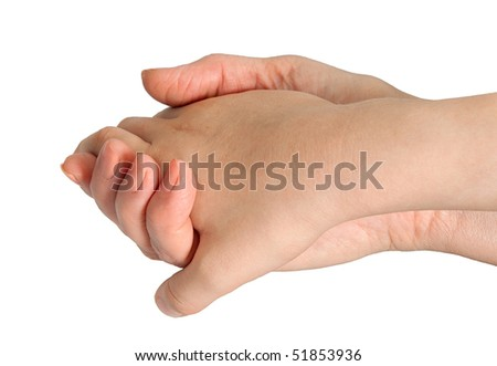 The female hand holds a hand of the boy