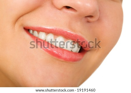 the female lips with cosmetics macro shot - stock photo