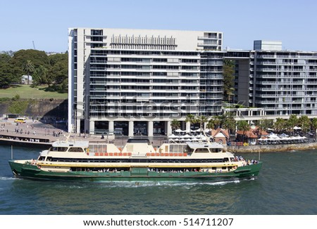 The ferry passing by in Sydney harbor (New South Wales).